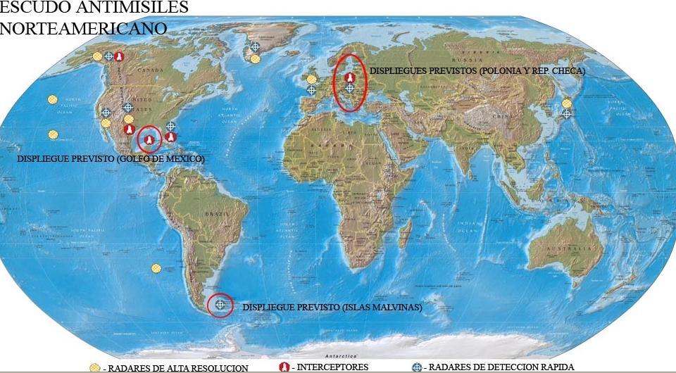 Islas Malvinas Mapa Mundi.Malvinas Es Parte Del Sistema De Escudo Antimisiles De